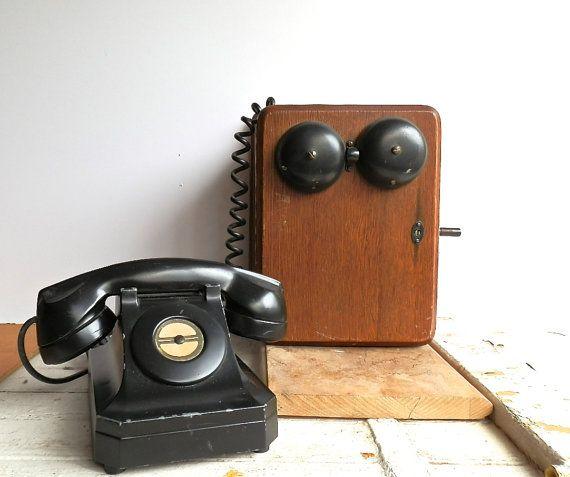 vintage crank telephone antique wall phone industrial home decor. Black Bedroom Furniture Sets. Home Design Ideas