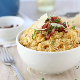 Butternut Squash Risotto with Bacon and Sage.