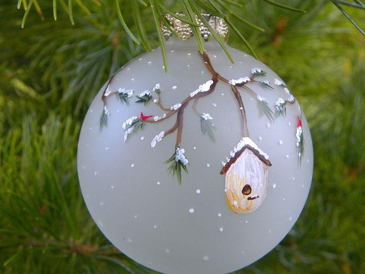 Birdhouse Christmas Tree Ornaments : Holiday tree ornament bird houses cardinal hand painted
