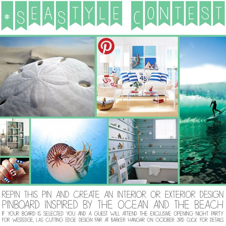 "How to enter:  1. Follow Heal the Bay 2. Create a pinboard and title it ""Heal the Bay #SeaStyle"" 3. Add at least 5 ocean inspired design pins to your board. One should be a repin of this pin 4. Include the #SeaStyle hashtag in each pin's description. Winners will receive 2 tickets to the WestEdge Design Fair Opening Night Party on October 3rd. Contest ends @ 11:59 pm PST October 1st http://www.healthebay.org/blogs-news/enter-our-ocean-inspired-design-contest"
