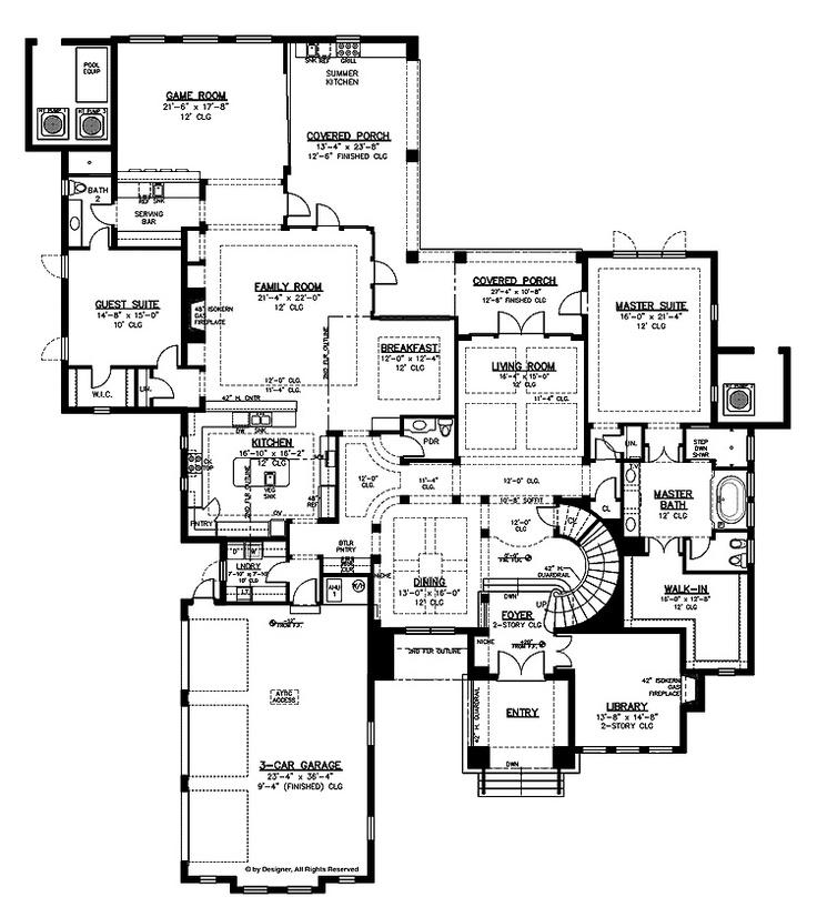 floor plans 1st floor spanish villa pinterest