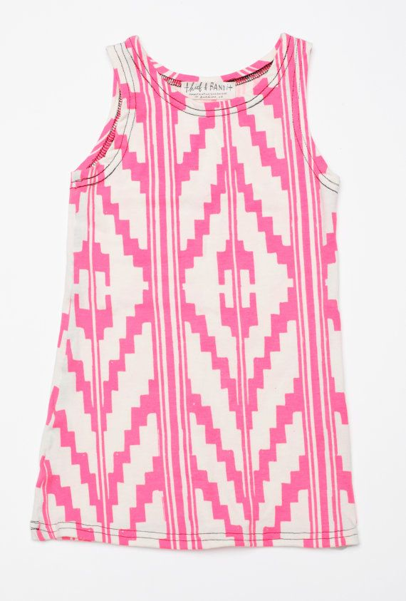 For Avery::Hand Printed Navajo Kids Tank Dress