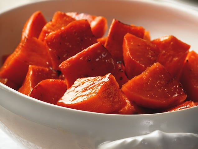 Maple roasted sweet potatoes... sounds delish
