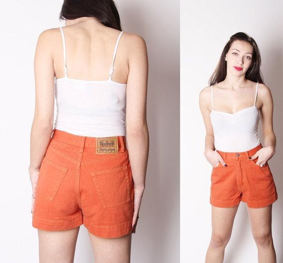 Vintage 90s Burnt Orange Jean Shorts / Cotton Denim by aiseirigh, $38