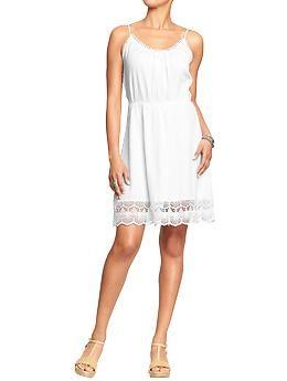 Womens Lace-Trim Gauze Sundresses
