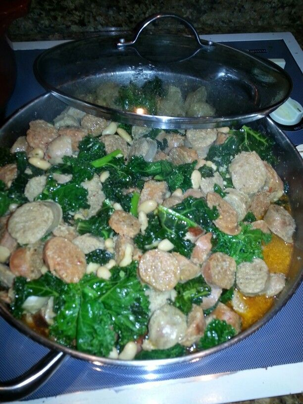 Sausage Kale and white beans sauteed in olive oil and garlic