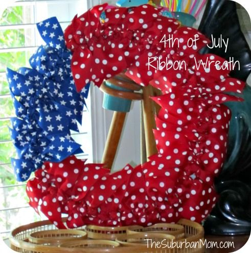 4th of july ribbon wreath - If you can tie a knot you can make this wreath! I would do red and white ribbon instead of the red with polka dots