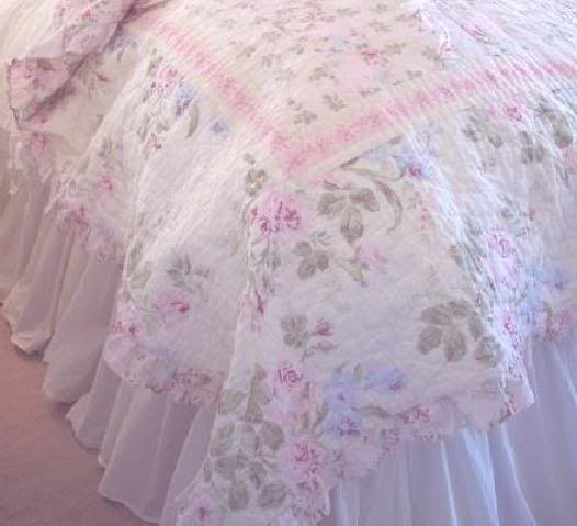 Full shabby cottage chic white ruffled bedskirt dust ruffle simply sh