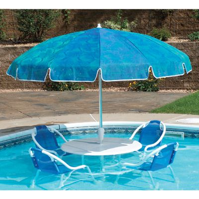 Pool party submersible patio furniture set with umbrella for Poolside table and chairs