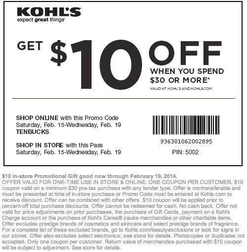 Kohls Printable Coupon