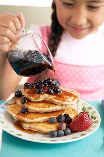 Whole-Grain Pancake Recipe With Blueberry Maple Syrup Recipe ...