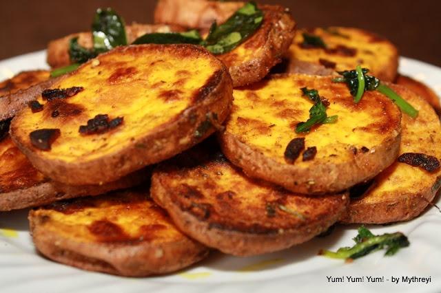 Sweet Potato Rounds with Garlic | Veggie Dishes | Pinterest