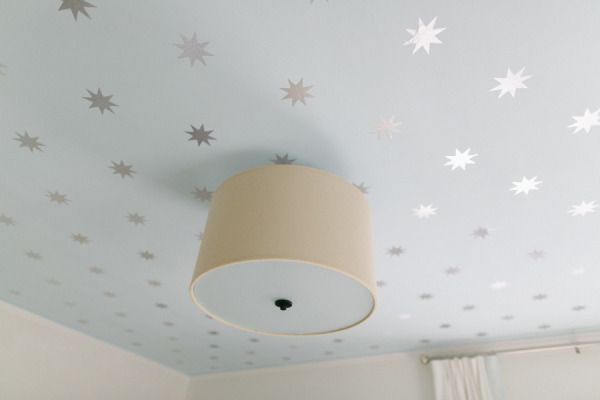 a DIY wallpaper ceiling using paint and contact paper Photography by http://rutheileenphotography.com/,  Design by http://honeyandfitz.com/ #Nursery #SMPLiving