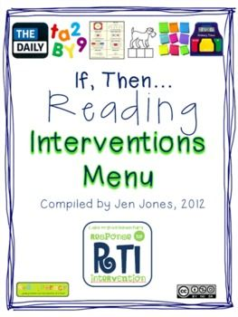 "RtI: Response to Intervention ""If, Then"" Reading Intervention activities.  A great resources to use in your intervention lessons if you don't know what to do next!!"