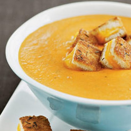 ... Tomato Soup With Grilled Cheese Croutons Recipe | Key Ingredient