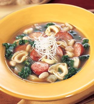 Cheese Tortellini Soup with Cannellini, Kielbasa, and Kale | Recipe