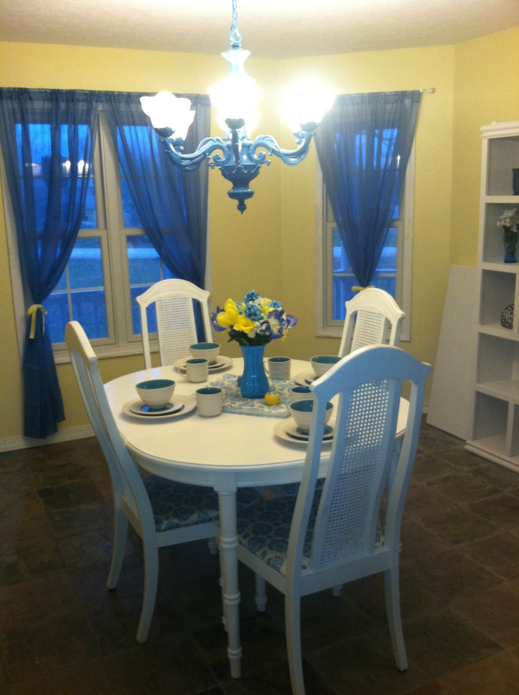 Blue and yellow dining room dining room ideas pinterest for Yellow dining room ideas