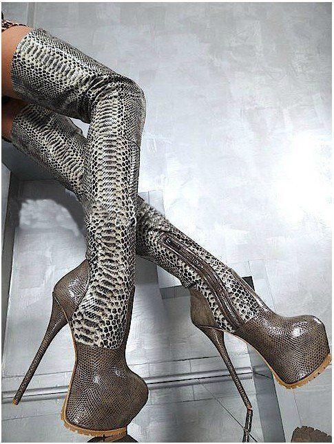 hott 2012 python snake print knee boots thigh