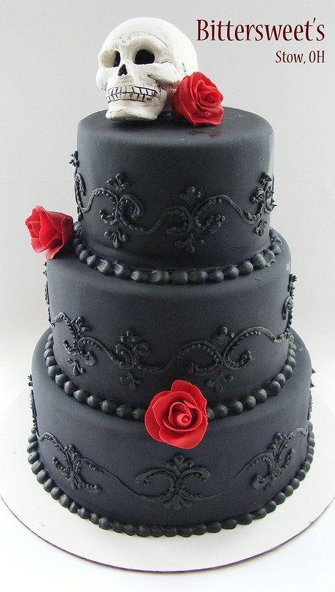 black skull tiered wedding cake cakes pinterest. Black Bedroom Furniture Sets. Home Design Ideas