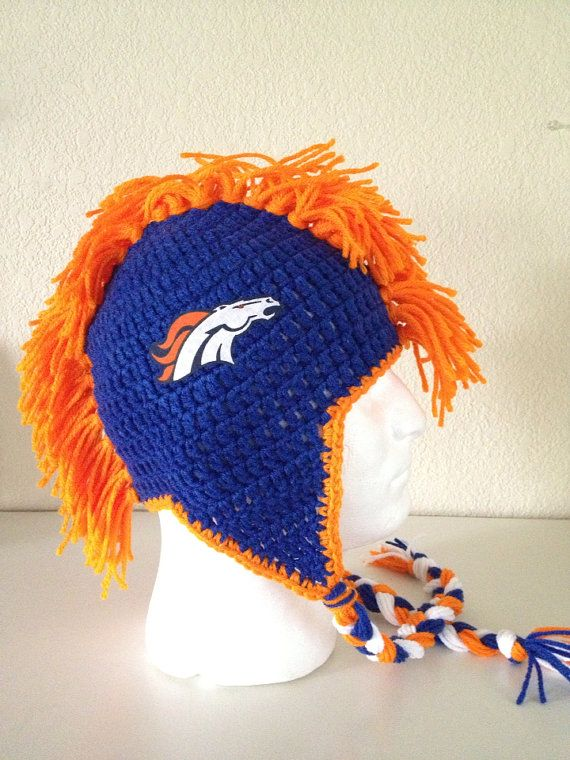 Knit Mohawk Hat Pattern : Football Team Mohawk Beanie ALL teams- crochet earflap hat- ALL sizes?