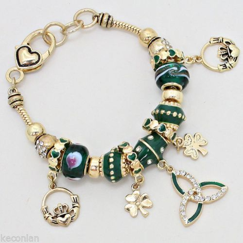 Brighton bay jewelry gold tone green beads clover heart charms