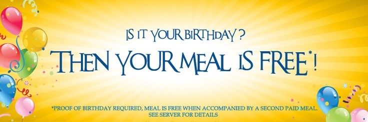 Free Birthday Meals ~ Pin by charlie horse on the pinterest