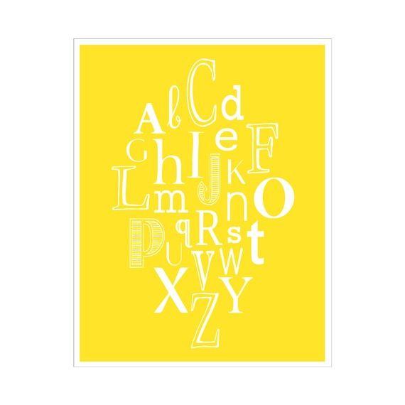 ETSY - KZukowski  Yellow alphabet
