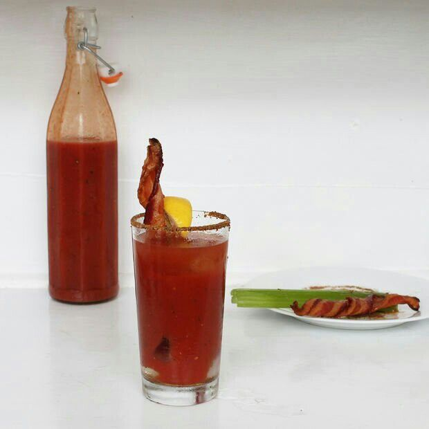 Bloody Mary with bacon swizzle stick | Drinks for Alcoholics | Pinter ...