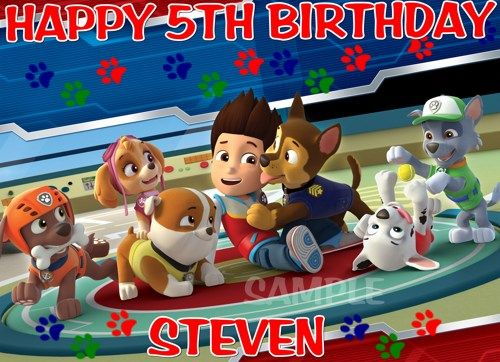 PAW PATROL BIRTHDAY EDIBLE CAKE TOPPER DECORATON | NANASTASTYTOPPERS - Seasonal on ArtFire