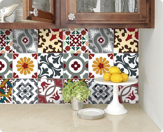 kitchen bathroom tile decals vinyl sticker barcelona patchwork bmix5. Black Bedroom Furniture Sets. Home Design Ideas