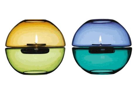 "Tealight Holder by Marie Olofsson: Hand blown glass. Measures 7 x 7"". $35  #Tealight #Marie_Olofsson"