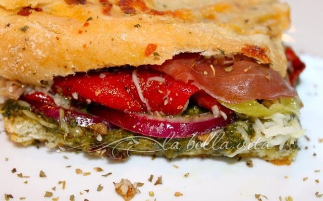 Mediterranean Prosciutto, Red Pepper, and Pesto Panini! - la bella ...