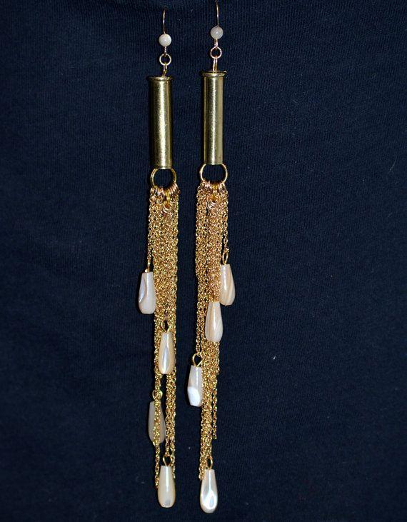 elegant upcycled bullet casing earrings