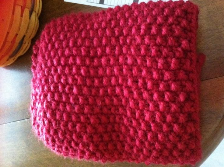 Infinity Scarf Knitting Pattern Seed Stitch : Seed stitch infinity scarf in red. Knitting and crochet ...