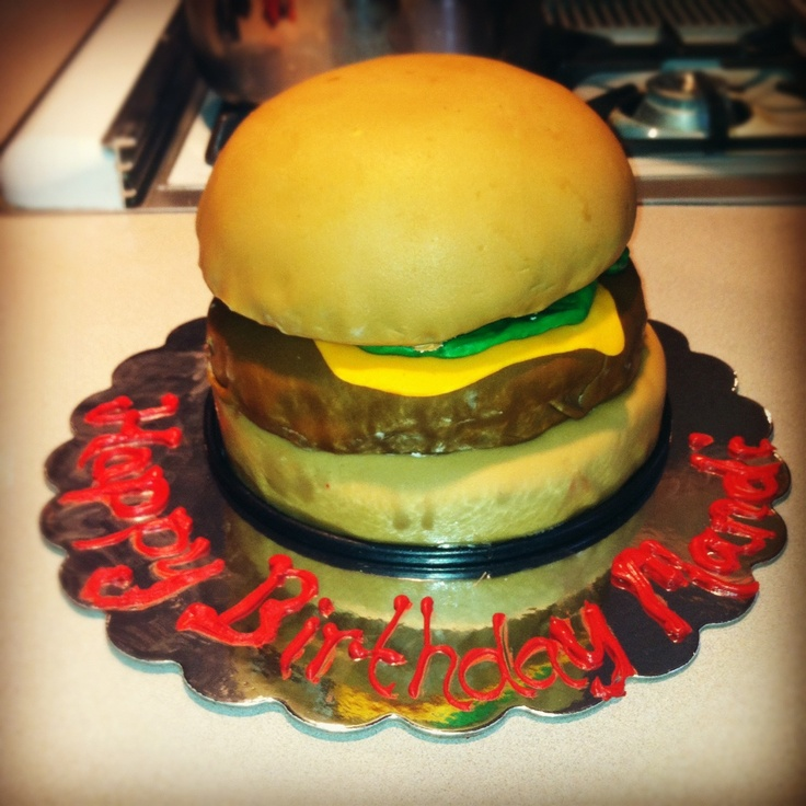 hamburger cake  Birthday - Cakes  Pinterest