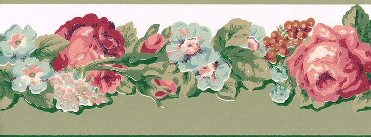 Victorian rose wallpaper border 1000x1000