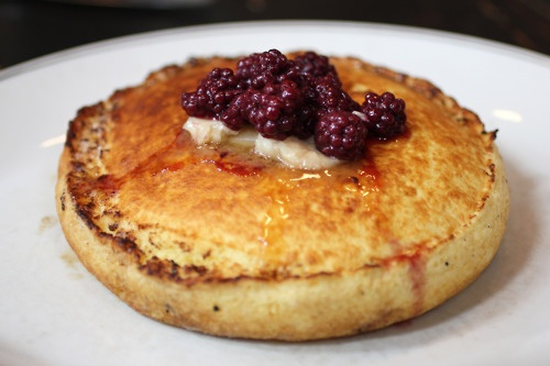 Cherry Glen ricotta pancake with blackberries, butter and maple syrup ...