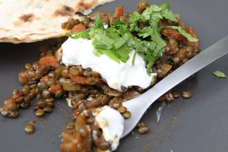 Pots and Frills: Curried Green Lentil with Caramelized Onion