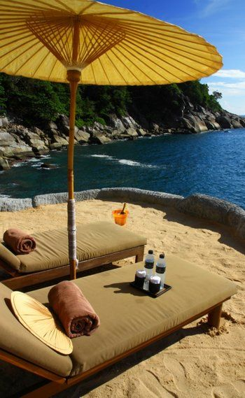 Kamala Beach, Phuket, Thailand. Some day I will be laying in that lawn chair.