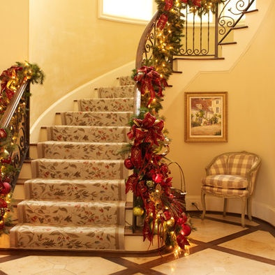 Staircase Christmas Decorations Christmas Pinterest