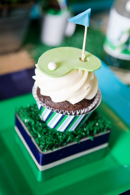 Golf hole in one topper and cupcake