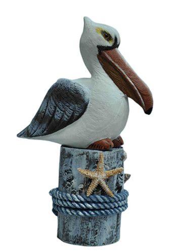 Excellent bird decor 13 quot nautical wooden pelican on piling beach decor