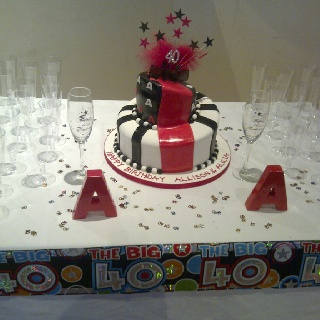 Ideas for my twin sister and my 40th birthday cake!! Chocolate and Red ...