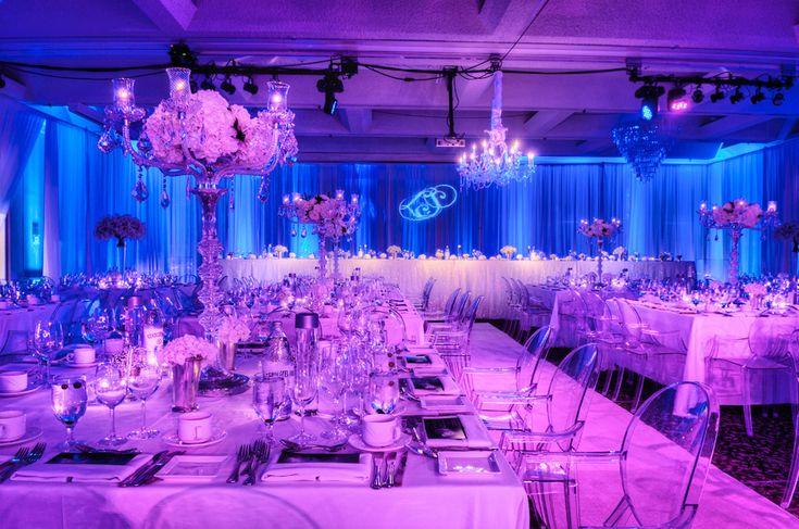 Wedding Reception Lighting Includes Blue Perimeter LED Uplighting On Draping