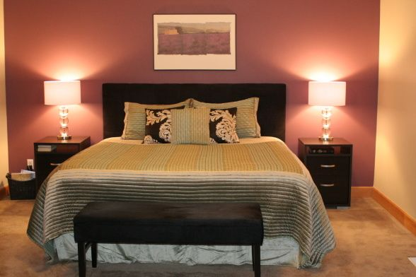 Master Bedroom Deep Purple Accent Wall Always Kiss Me Goodnight P