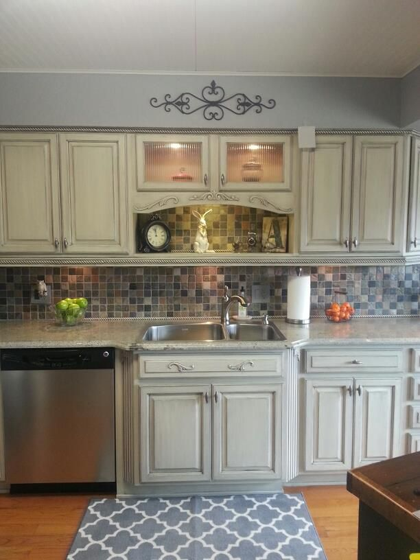 Cream cabinets with charcoal glaze  home updates!  Pinterest