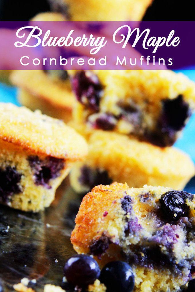 Blueberry Maple Cornbread Muffins | http://www.carlsbadcravings.com ...