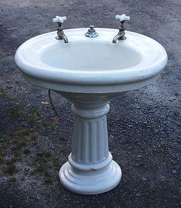Oval Pedestal Sink : Antique Oval Pedestal Sink Porcelain Over Terra Cotta with Hardware ...