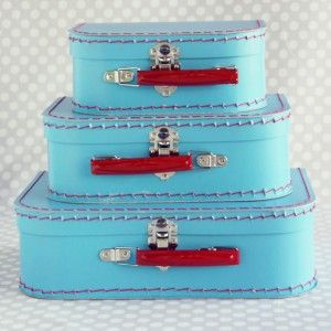 Sky blue paper suitcase set from Shop Sweet Lulu!