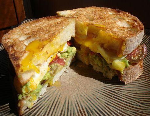 BEAT (bacon, egg, avocado, tomato) Breakfast Sandwich. So finger ...